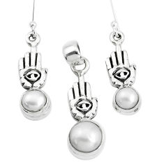 925 silver natural white pearl hand of god hamsa pendant earrings set p38600