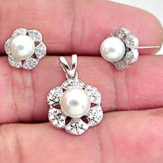 925 silver 5.79cts natural white pearl topaz pendant earrings set jewelry c5600