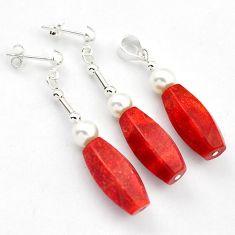 925 SILVER SUBLIME RED SPONGE CORAL PEARL FANCY PENDANT EARRINGS SET H41865