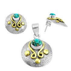 925 silver victorian blue copper turquoise two tone pendant earrings set p44672