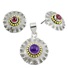 925 silver victorian natural amethyst two tone pendant earrings set p44587