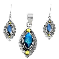 925 silver victorian natural labradorite two tone pendant earrings set p44618