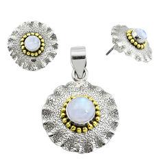 925 silver victorian natural moonstone two tone pendant earrings set p44591