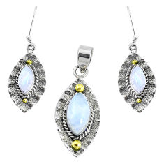 925 silver victorian natural moonstone two tone pendant earrings set p44612