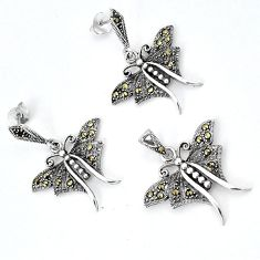 925 sterling silver art deco marcasite butterfly pendant earrings set h48164