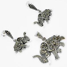925 sterling silver art deco marcasite elephant pendant earrings set h48178