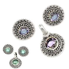 925 sterling silver green alexandrite (lab) pendant earrings set jewelry j1399
