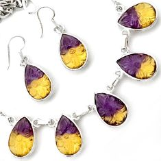 925 STERLING SILVER MAGICAL MULTICOLOR AMETRINE EARRINGS NECKLACE SET H44726