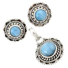 925 sterling silver natural blue owyhee opal pendant earrings set jewelry j1433
