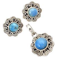 925 sterling silver natural blue owyhee opal round pendant earrings set j1424