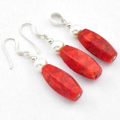 925 sterling silver natural red sponge coral pearl pendant earrings set h54139