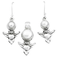 925 sterling silver 5.01cts natural white pearl owl pendant earrings set p38507