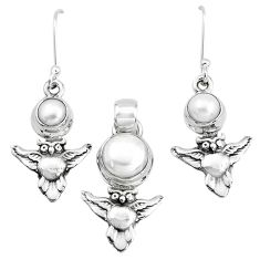 925 sterling silver 6.32cts natural white pearl owl pendant earrings set p38604