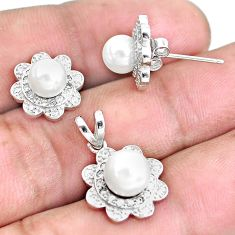 925 sterling silver 6.33cts natural white pearl pendant earrings set c1272