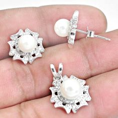 925 sterling silver 7.12cts natural white pearl pendant earrings set c1278