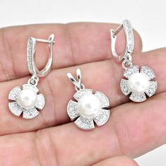 925 sterling silver 8.27cts natural white pearl round pendant earrings set c1266