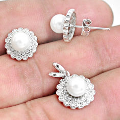 925 sterling silver 6.04cts natural white pearl round pendant earrings set c1275
