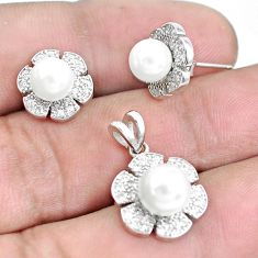 925 sterling silver 9.10cts natural white pearl topaz pendant earrings set c1226