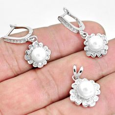 925 sterling silver 8.98cts natural white pearl topaz pendant earrings set c1230