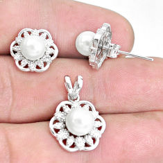 925 sterling silver 7.82cts natural white pearl topaz pendant earrings set c1238