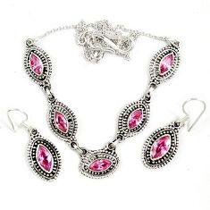 925 sterling silver pink kunzite (lab) earrings necklace set jewelry j9483