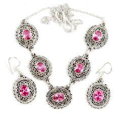 925 sterling silver pink kunzite (lab) earrings necklace set jewelry j9502