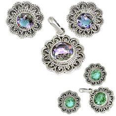 925 sterling silver purple alexandrite (lab) pendant earrings set jewelry h92331