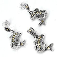 925 sterling silver swiss marcasite dolphin pendant earrings set jewelry h48167