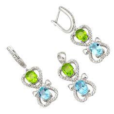 Natural blue topaz peridot topaz 925 silver pendant earrings set a38207