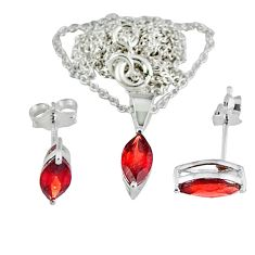 Natural red garnet 925 sterling silver earrings necklace set jewelry a47393