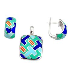 9.44gms color inlay enamel 925 sterling silver pendant earrings set c7962