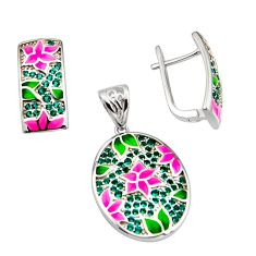 925 silver 2.05cts color inlay emerald (lab) enamel pendant earrings set c7964