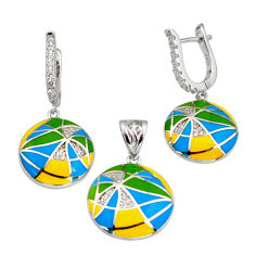 Color inlay topaz quartz enamel 925 sterling silver pendant earrings set c7969