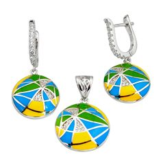 Color inlay topaz quartz enamel 925 sterling silver pendant earrings set c7971
