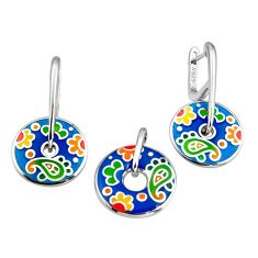 Color inlay enamel 925 sterling silver pendant earrings set jewelry c7974