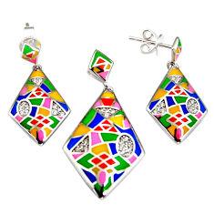 Color inlay topaz quartz enamel 925 sterling silver pendant earrings set c7975