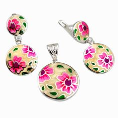 Color inlay enamel 925 sterling silver pendant earrings set jewelry c7977