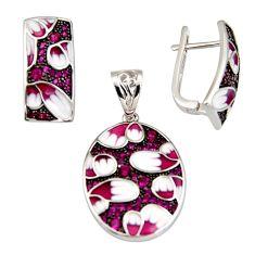 Color inlay ruby (lab) enamel 925 sterling silver pendant earrings set c7978
