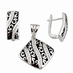 925 sterling silver color inlay topaz quartz enamel pendant earrings set c7979
