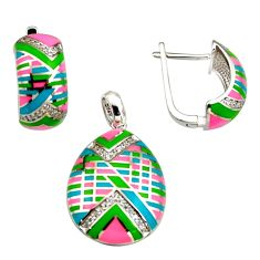 Color inlay topaz quartz enamel 925 sterling silver pendant earrings set c7980