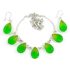 Green tourmaline (lab) pear 925 sterling silver earrings necklace set d10379