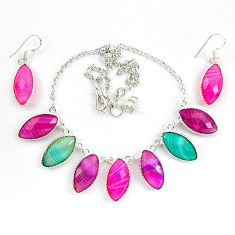 925 silver natural pink botswana agate earrings necklace set jewelry d10380