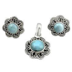 Natural blue owyhee opal 925 sterling silver pendant earrings set d13361