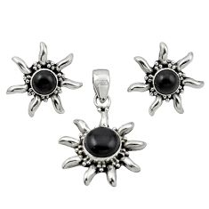 Natural black onyx 925 sterling silver pendant earrings set jewelry d13365