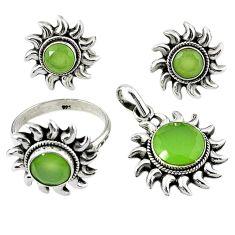 Natural green prehnite 925 silver pendant ring earrings set d13601