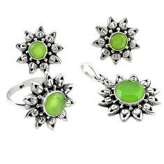 Natural green prehnite 925 silver pendant ring earrings set d13602