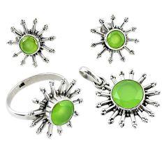 925 silver natural green prehnite round pendant ring earrings set d13604