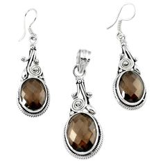 Brown smoky topaz 925 sterling silver pendant earrings set jewelry d13605