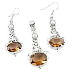 Brown smoky topaz pearl 925 silver pendant ring earrings set d13606