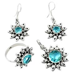 925 sterling silver natural blue topaz round pendant ring earrings set d13609